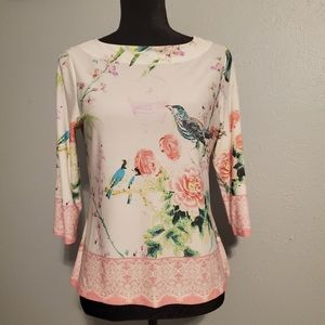 Investments Petites Floral Blue Bird Spring Shirt